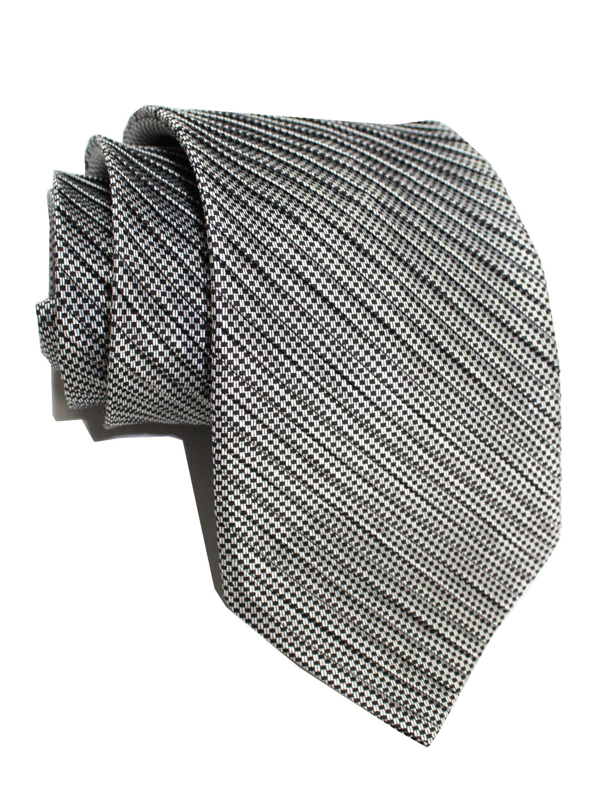 Stefano Ricci Pleated Silk Tie Black Silver Squares Design