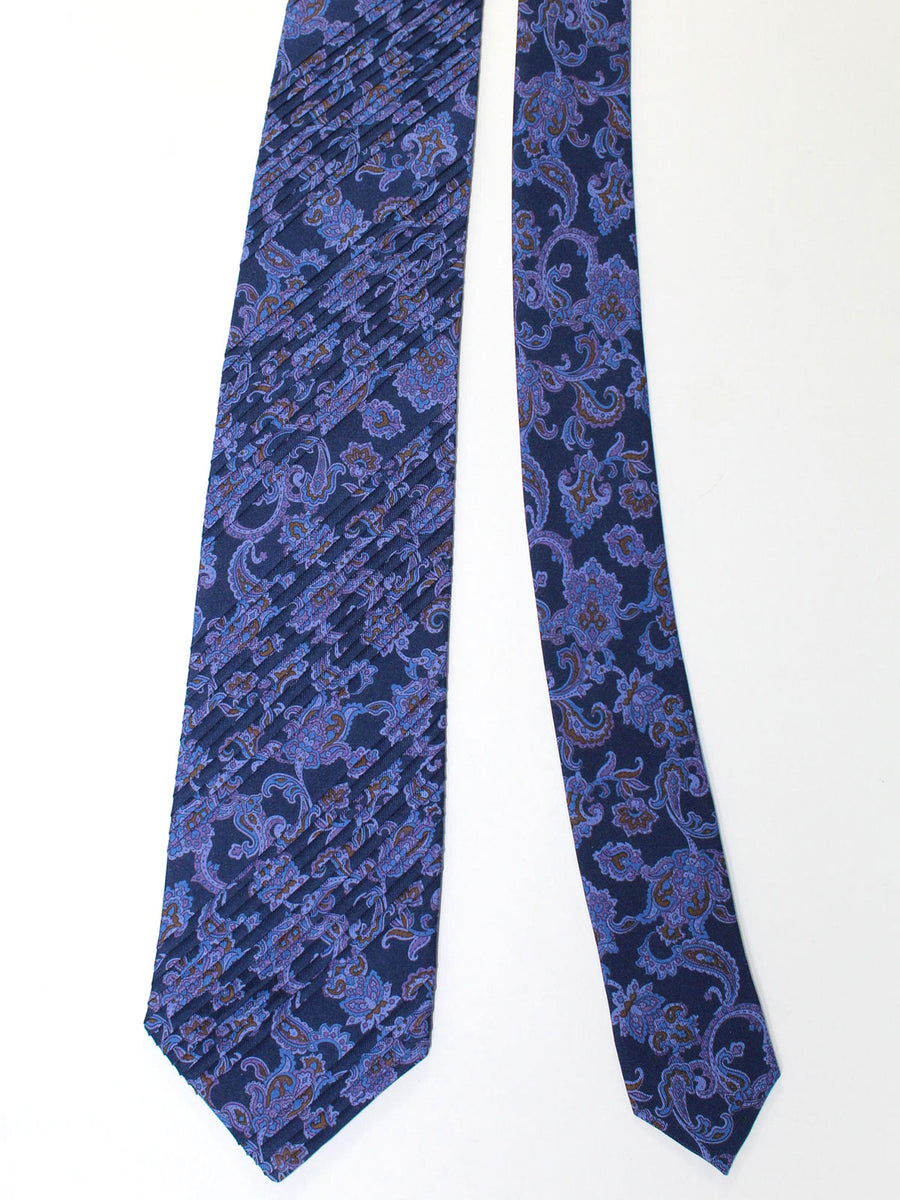 Stefano Ricci Pleated Silk Tie Dark Blue Paisley Design