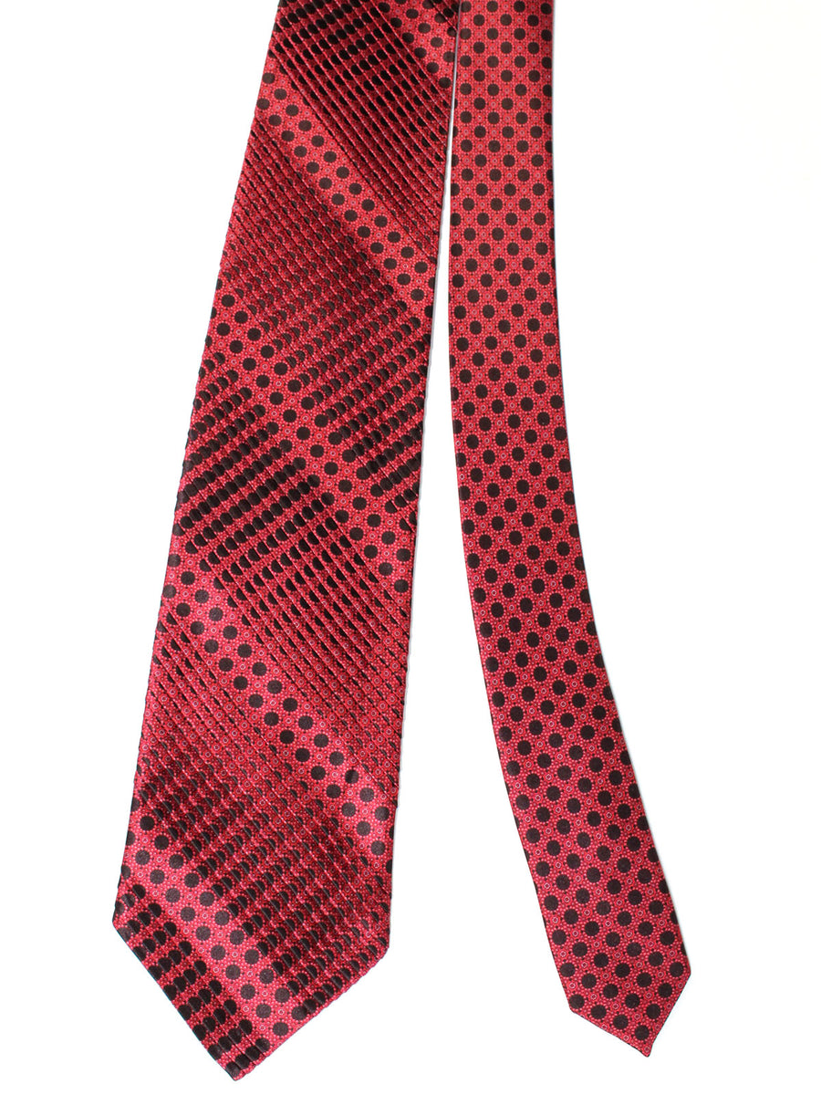 Stefano Ricci Pleated Silk Tie Red Burgundy Black Geometric Design