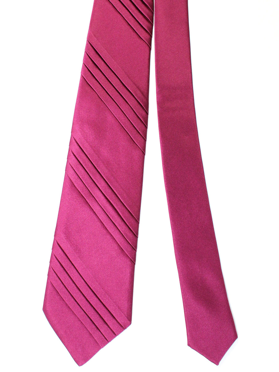 Stefano Ricci Pleated Silk Tie Wine Purple Solid Design