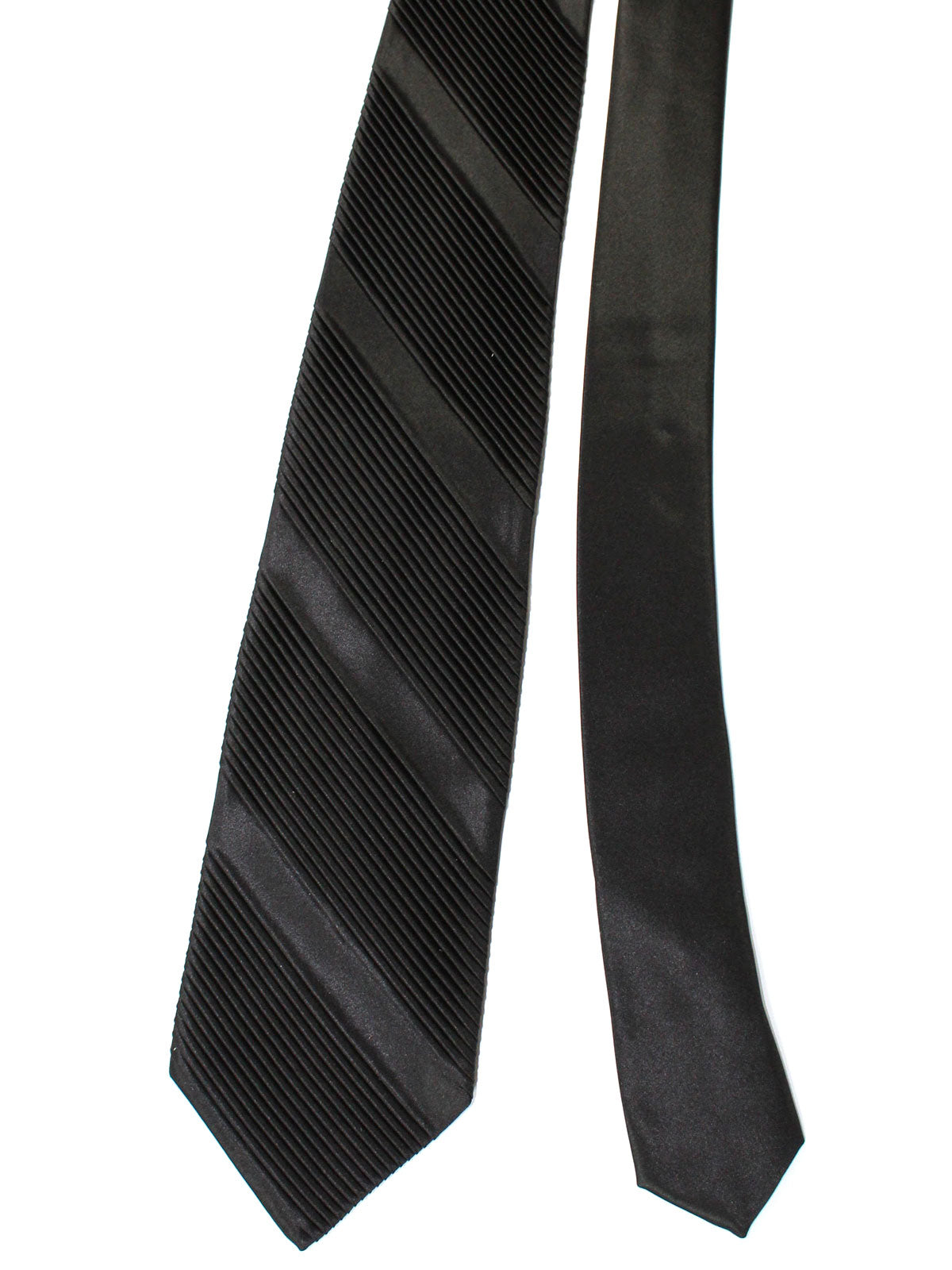 Stefano Ricci Pleated Silk Tie Black Solid Design