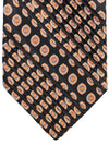 Stefano Ricci Pleated Silk Tie Black Orange Medallions Design