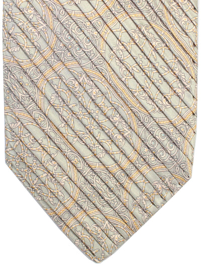Stefano Ricci Pleated Silk Tie Gray Pink Ornamental Design