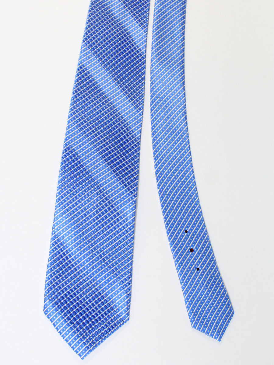 Stefano Ricci Pleated Silk Tie Blue White Stripes Design