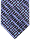 Stefano Ricci Pleated Silk Tie Black Aqua Lilac Geometric Design