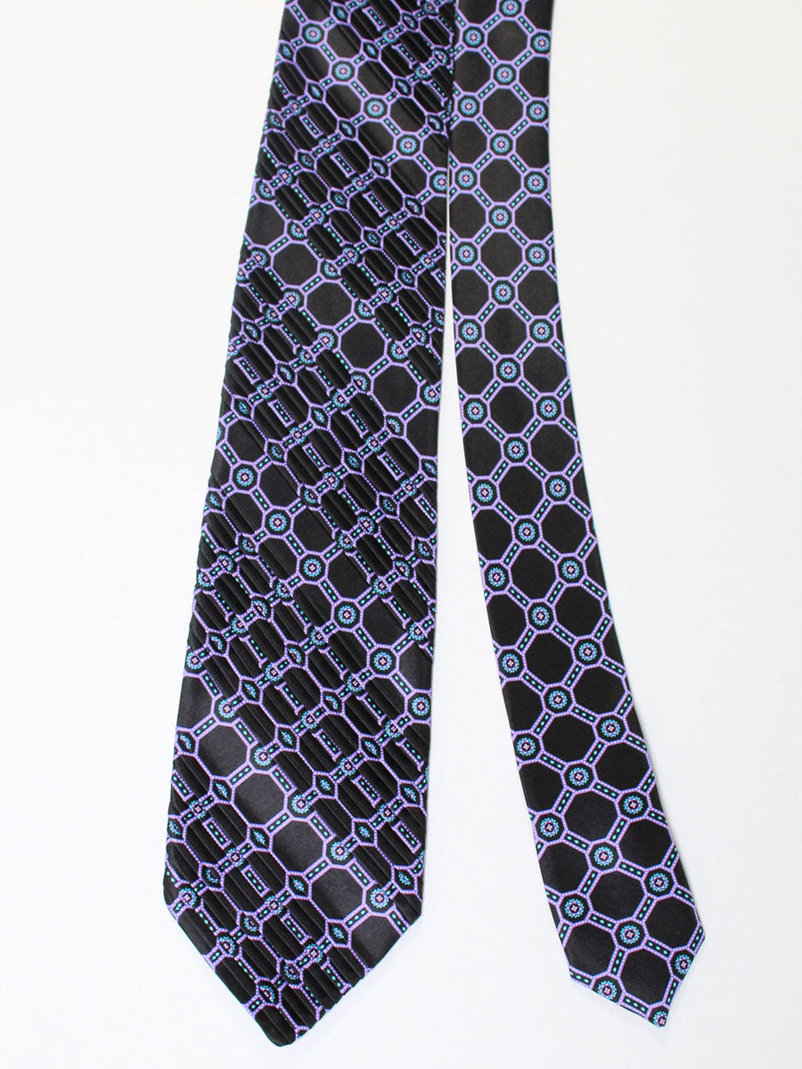 Stefano Ricci Pleated Silk Tie Black Turquoise Lilac Geometric Design