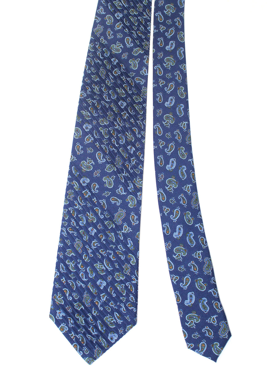 Stefano Ricci Pleated Silk Tie Navy Brown Paisley Design