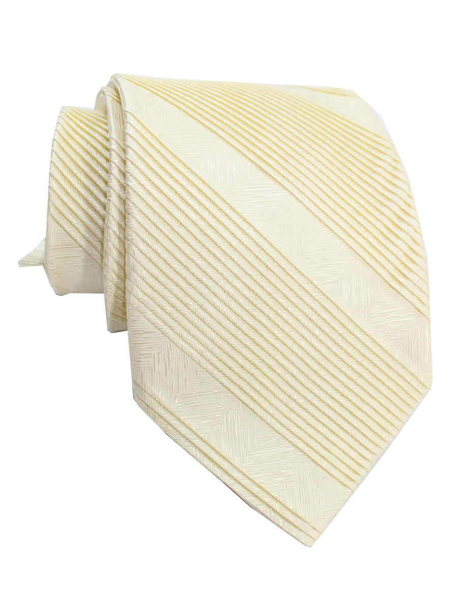 Stefano Ricci Pleated Silk Tie Ivory Solid Design - Wide Necktie