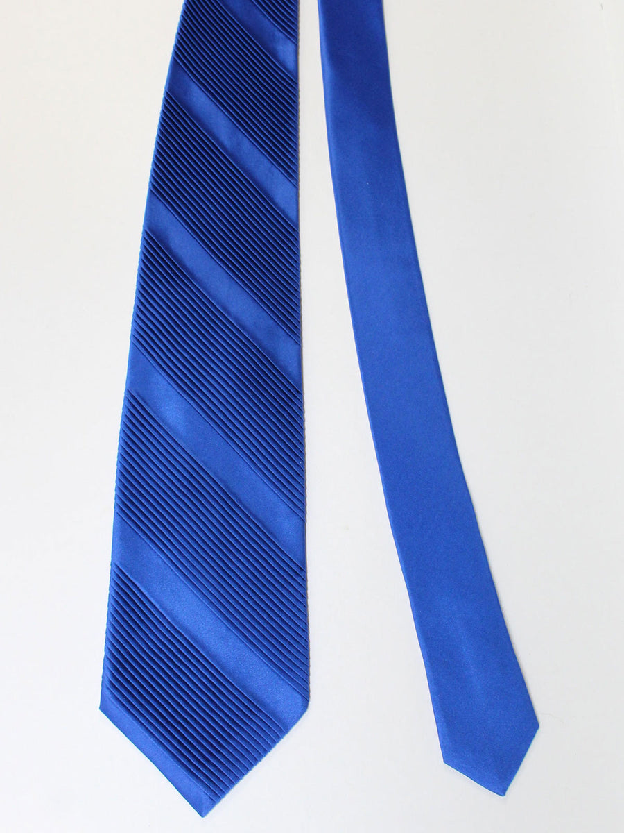 Stefano Ricci Pleated Silk Tie Royal Blue Solid Design - Wide Necktie