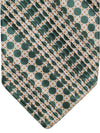 Stefano Ricci Pleated Silk Tie Green Geometric Design
