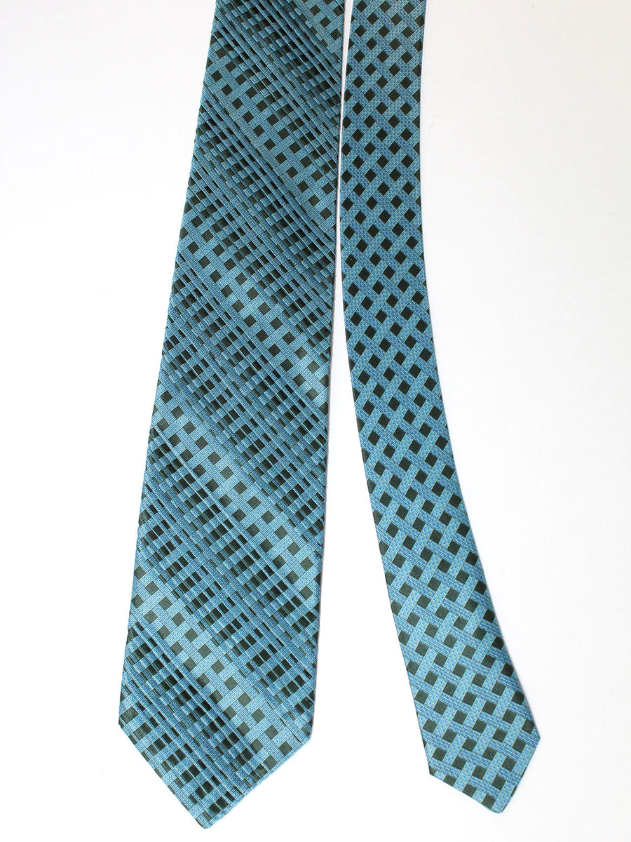 Stefano Ricci Pleated Silk Tie Dark Teal Black Check Design