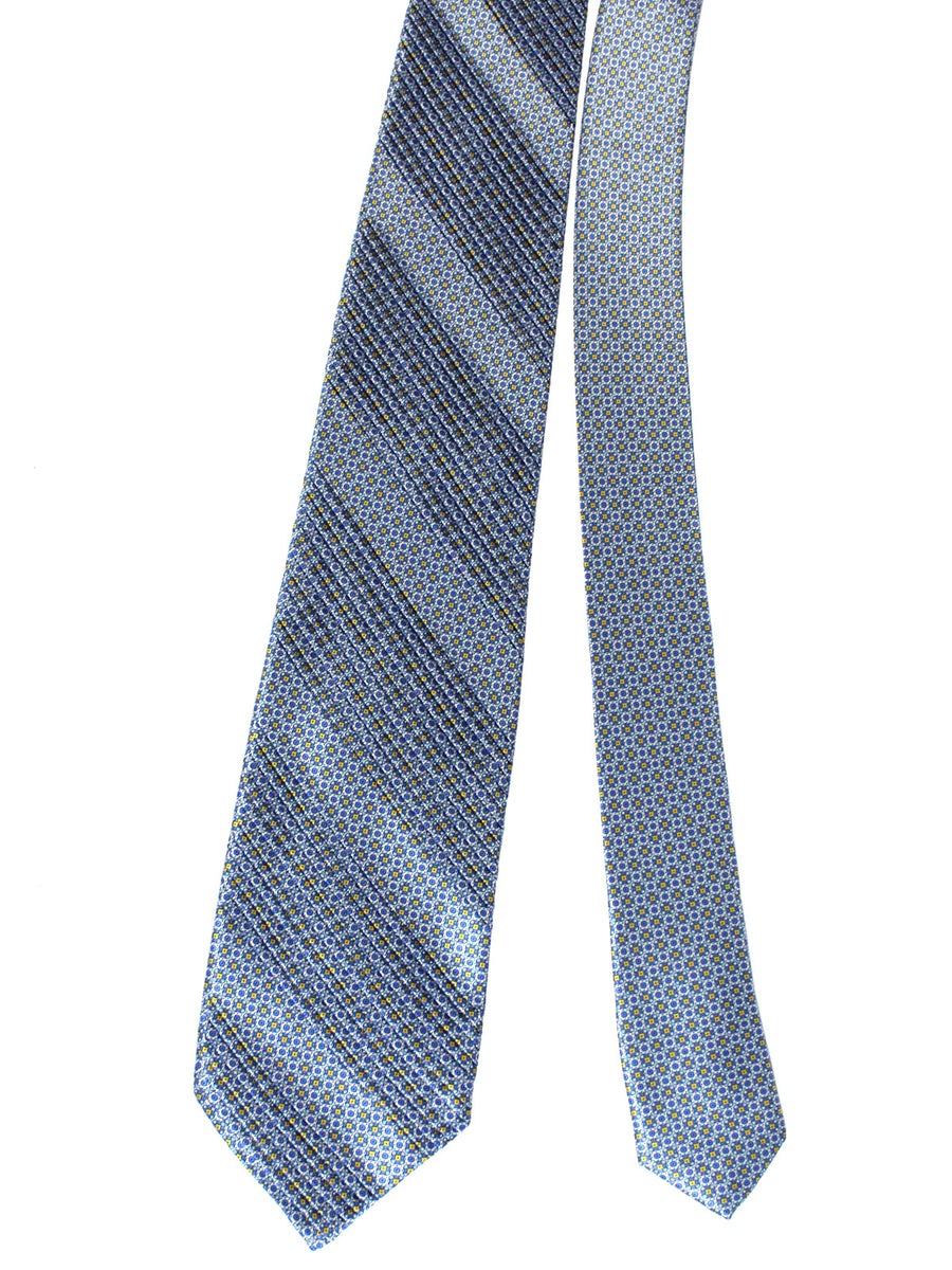 Stefano Ricci Pleated Silk Tie Blue Geometric Design