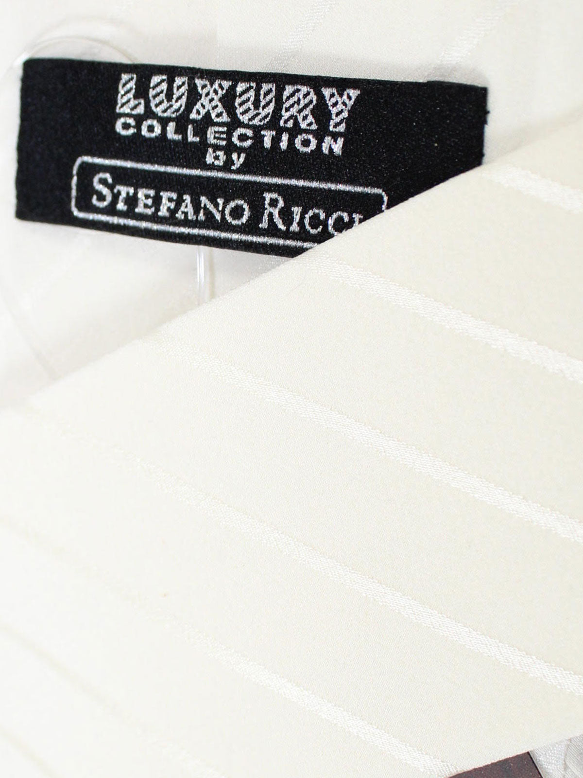 Stefano Ricci Pleated Silk Tie Solid White Ivory Design