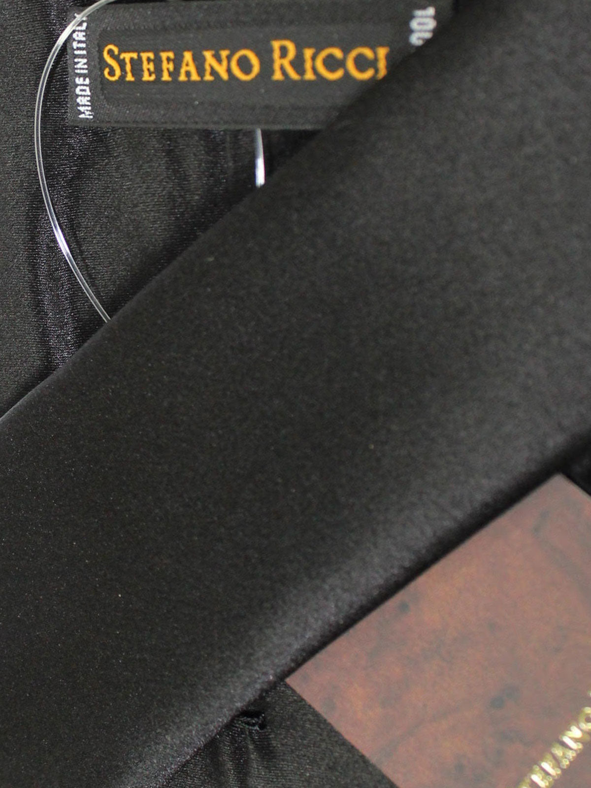 Stefano Ricci Pleated Silk Tie Solid Black Design