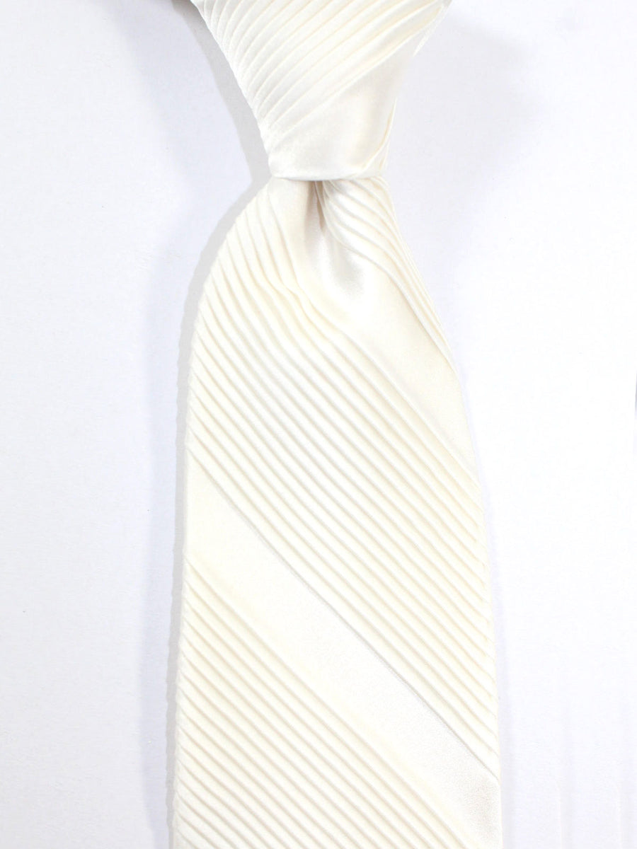Stefano Ricci Pleated Silk Tie Solid White Design