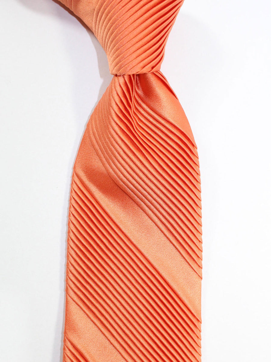 Stefano Ricci Pleated Silk Tie Solid Peach Design