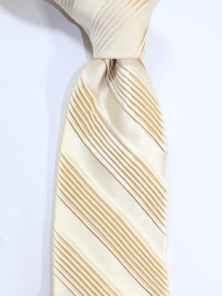 Stefano Ricci Pleated Silk Tie Solid Taupe Cream Design