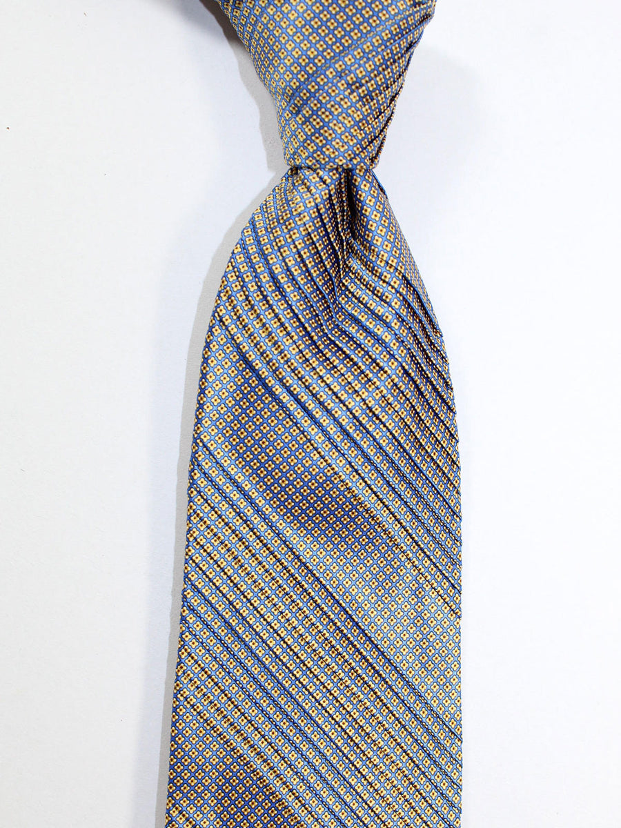 Stefano Ricci Pleated Silk Tie Blue Yellow Orange Geometric Design