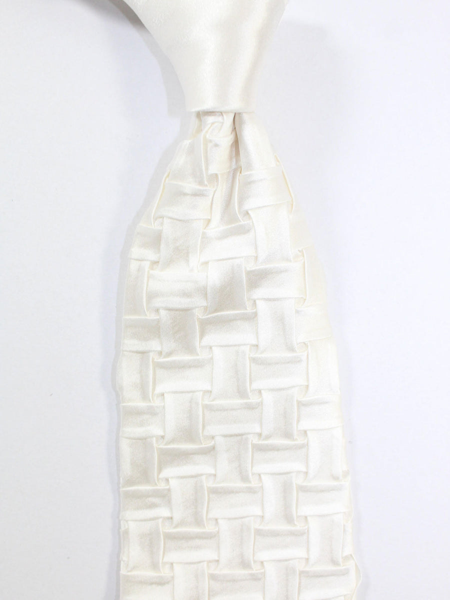 Stefano Ricci Pleated Silk Tie White Basket Weave Design