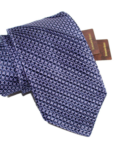 Stefano Ricci Pleated Silk Tie Dark Blue Lilac Geometric Design
