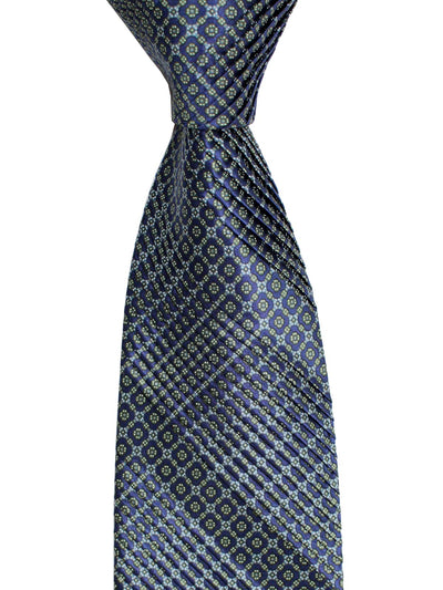 Stefano Ricci Pleated Silk Tie Midnight Blue Gray Green