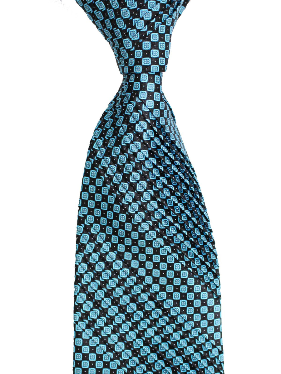 Stefano Ricci Pleated Silk Tie Black Aqua