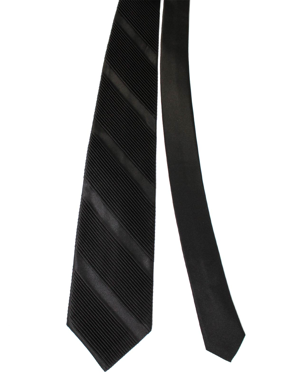 Stefano Ricci Pleated Silk Tie Solid Black - Wide Necktie
