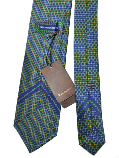 Stefano Ricci Tie Navy Green Mini Flowers SALE