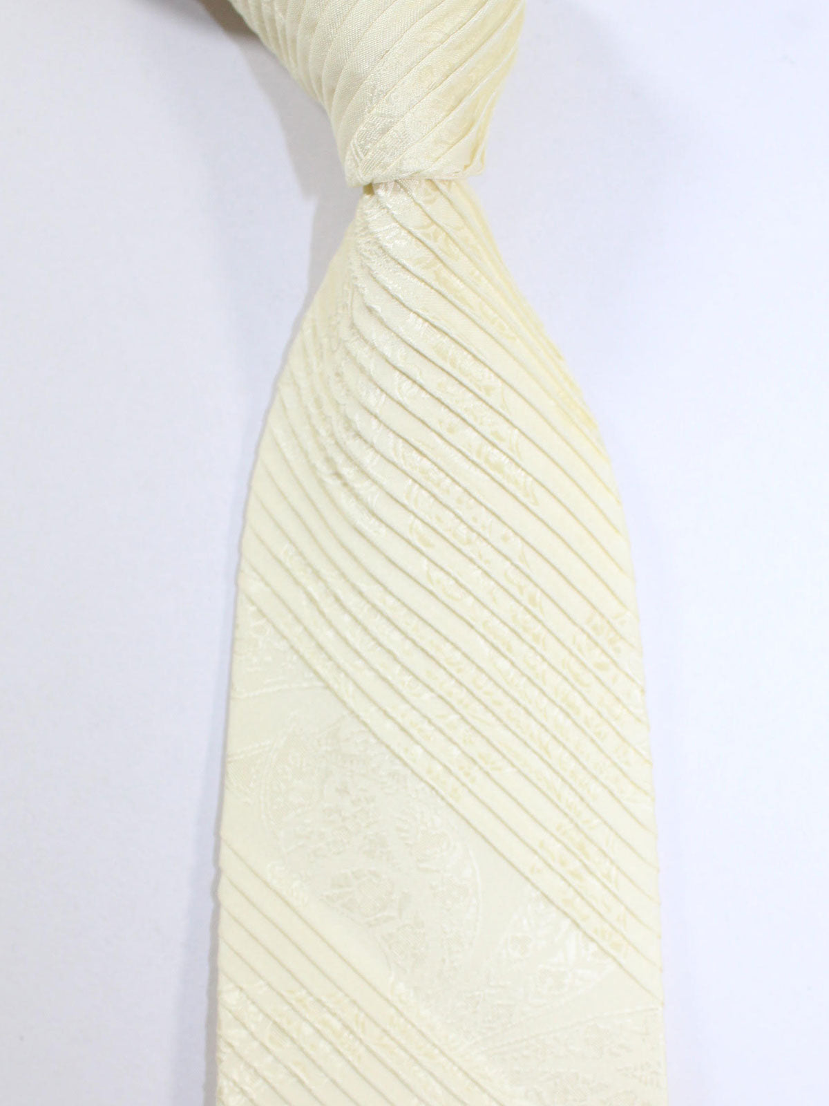 Stefano Ricci Pleated Silk Tie Ivory Design