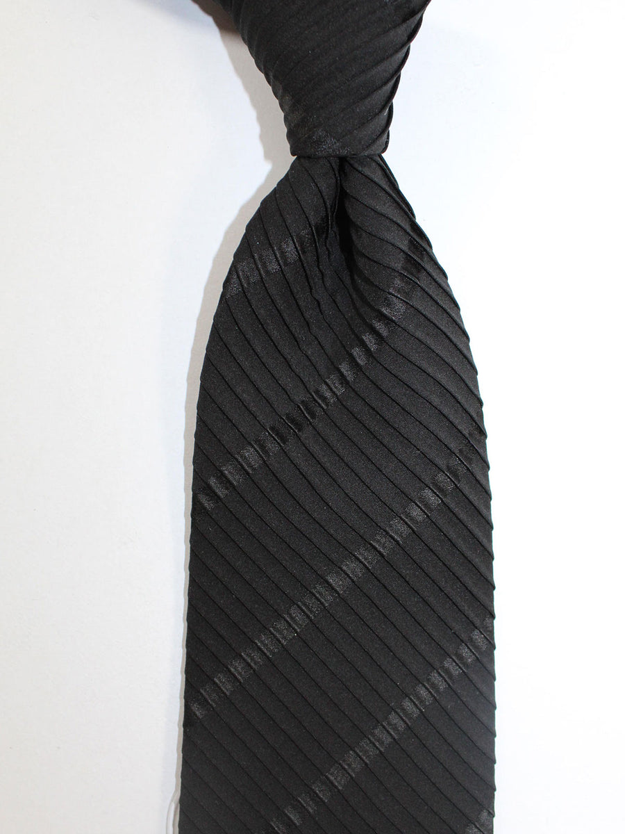Stefano Ricci Pleated Silk Tie Black Stripes Design