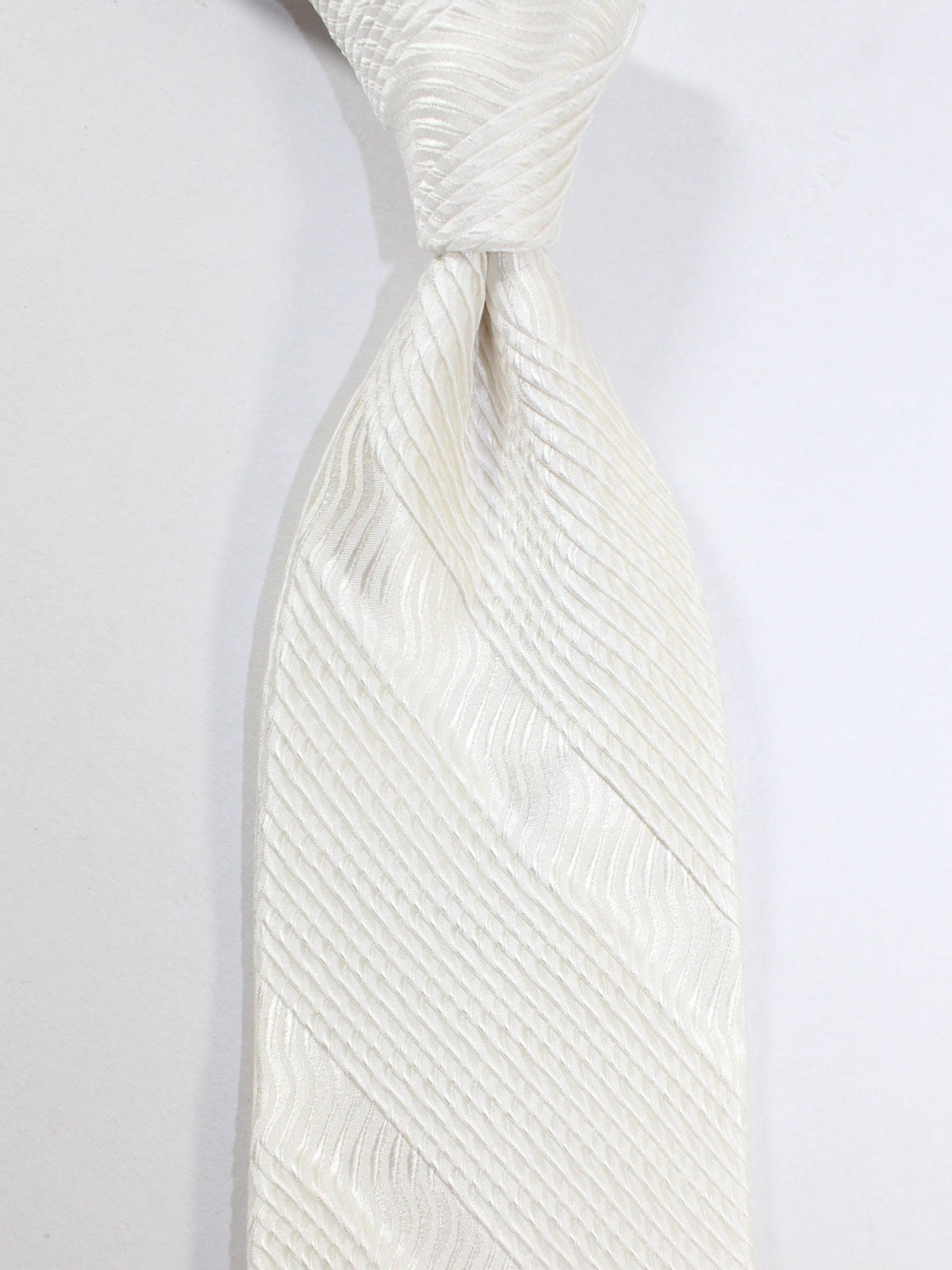 Stefano Ricci Pleated Silk Tie White Tonal Swirl Design