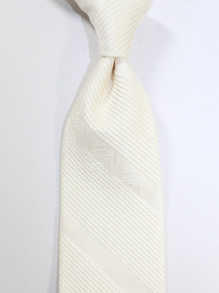Stefano Ricci Pleated Silk Tie White Herringbone Design