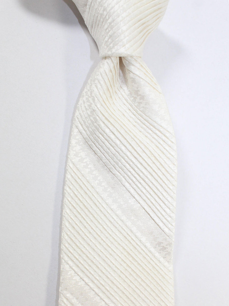 Stefano Ricci Pleated Silk Tie White Houndstooth Design