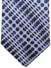 Stefano Ricci Pleated Silk Tie Purple Geometric Design