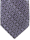 Stefano Ricci Pleated Silk Tie Purple Black Gray Medallions Design