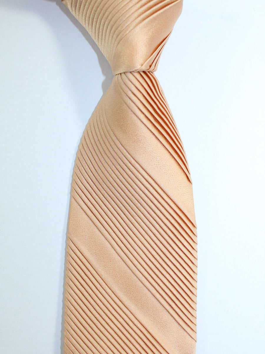 Stefano Ricci Pleated Silk Tie Cream Caramel Solid Design