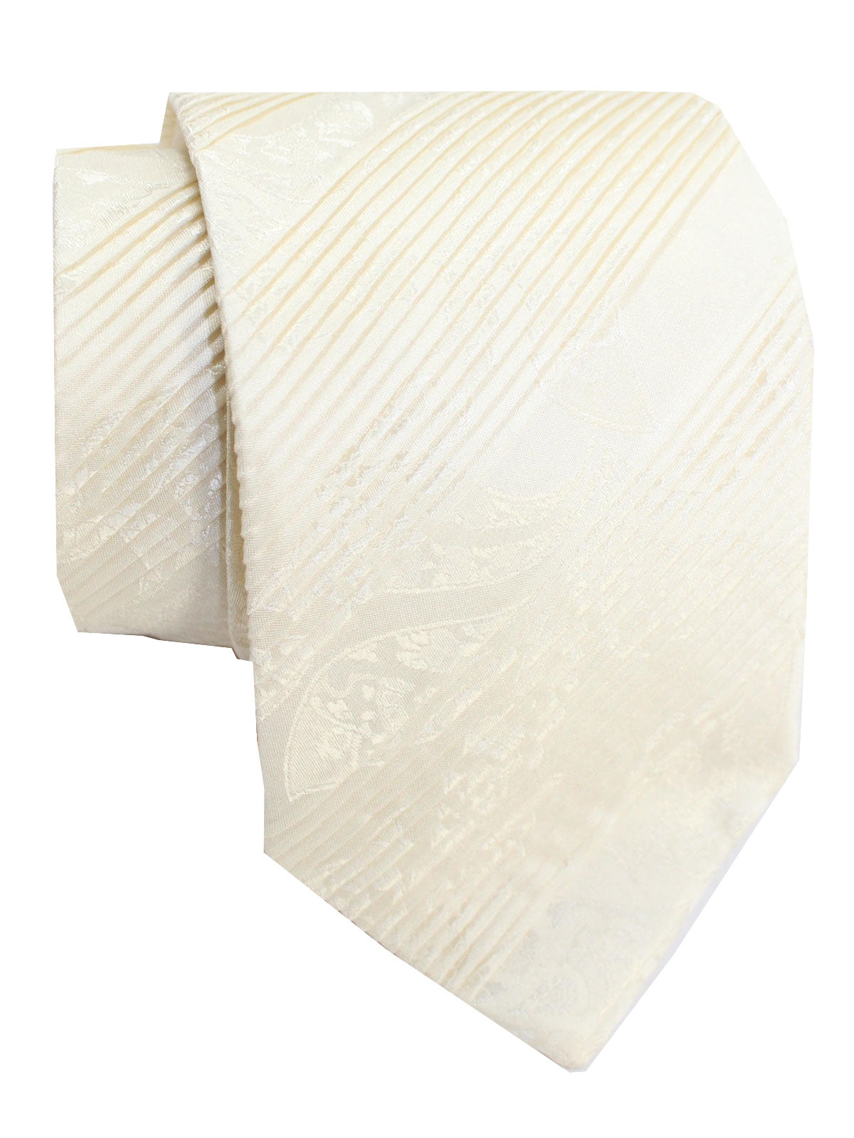 Stefano Ricci Pleated Silk Tie White Ornamental Design