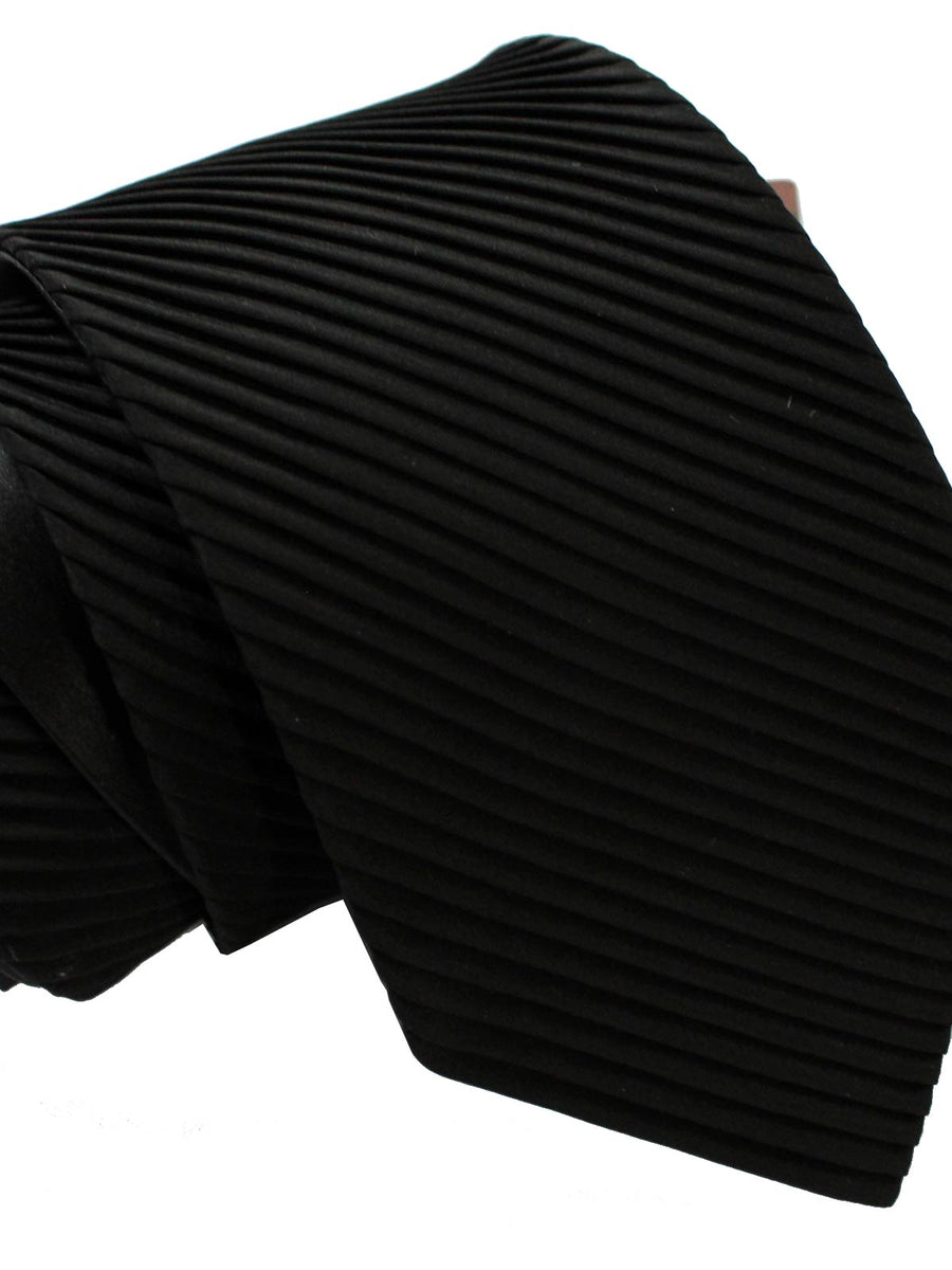 Stefano Ricci Pleated Silk Tie Solid Black