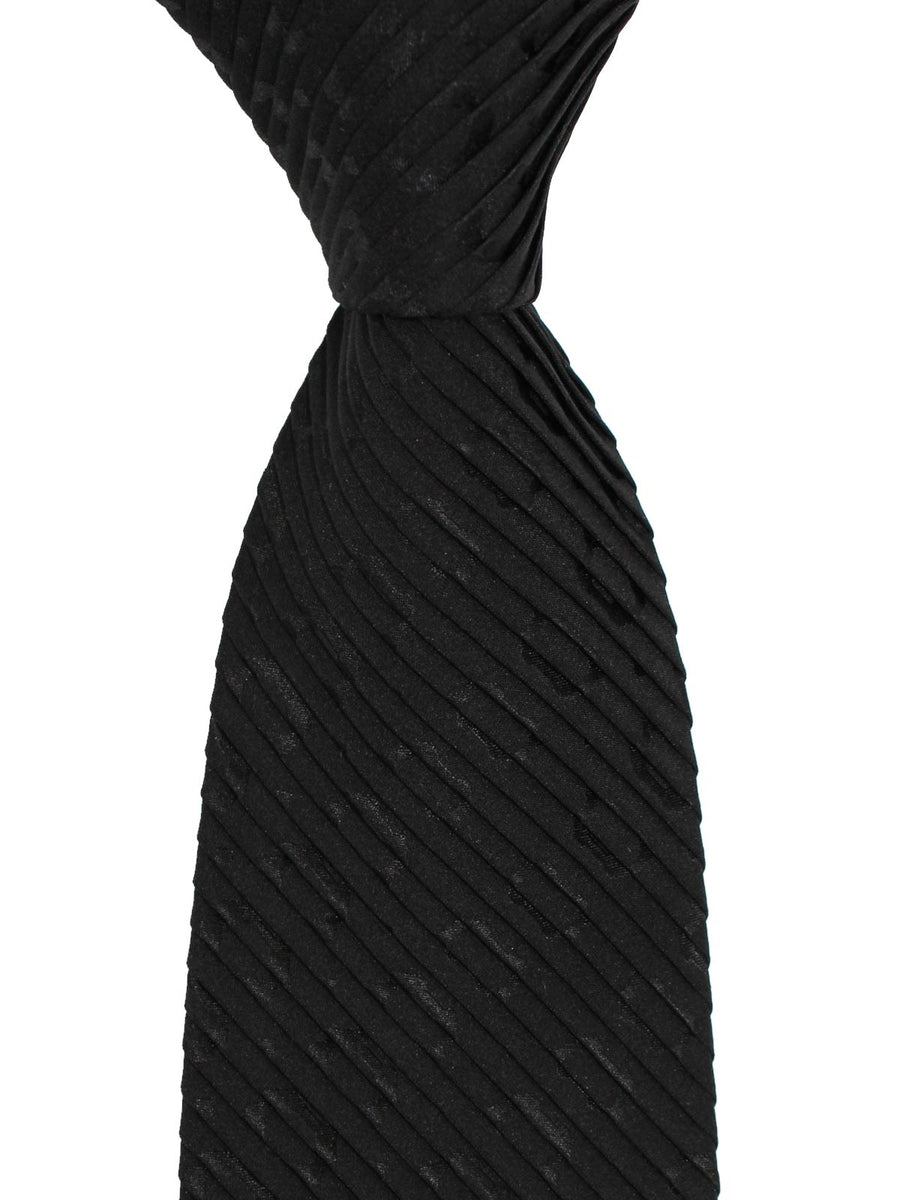 Stefano Ricci Pleated Silk Tie Black Geometric Design