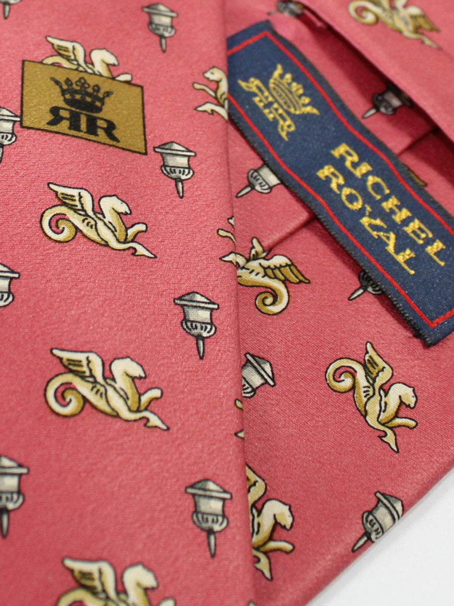 Richel Royal Tie Pink Design - Vintage Collection Wide Necktie SALE