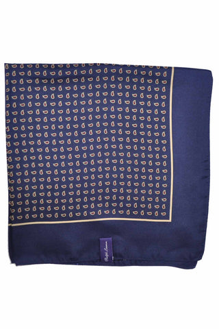 Ralph Lauren PURPLE LABEL Silk Pocket Square Navy Mini Paisley SALE