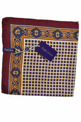 Ralph Lauren Purple Label Pocket Square Yellow Maroon Navy