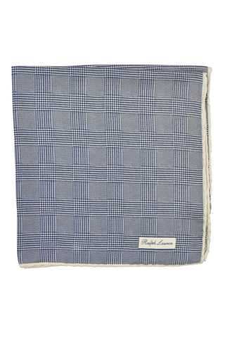 Ralph Lauren PURPLE LABEL Pocket Square Navy White Mini Houndstooth