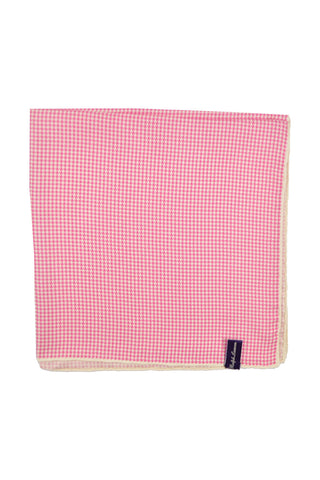 Ralph Lauren PURPLE LABEL Pocket Square Pink White Houndstooth