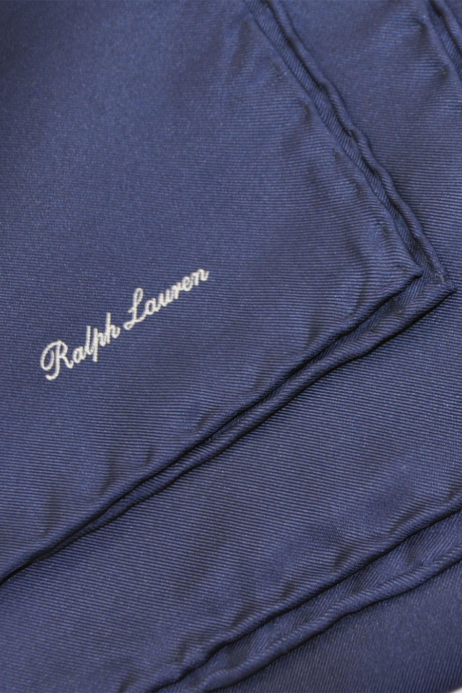 Ralph Lauren Silk Pocket Square Solid Dark Navy - Hand Made In Italy SALE