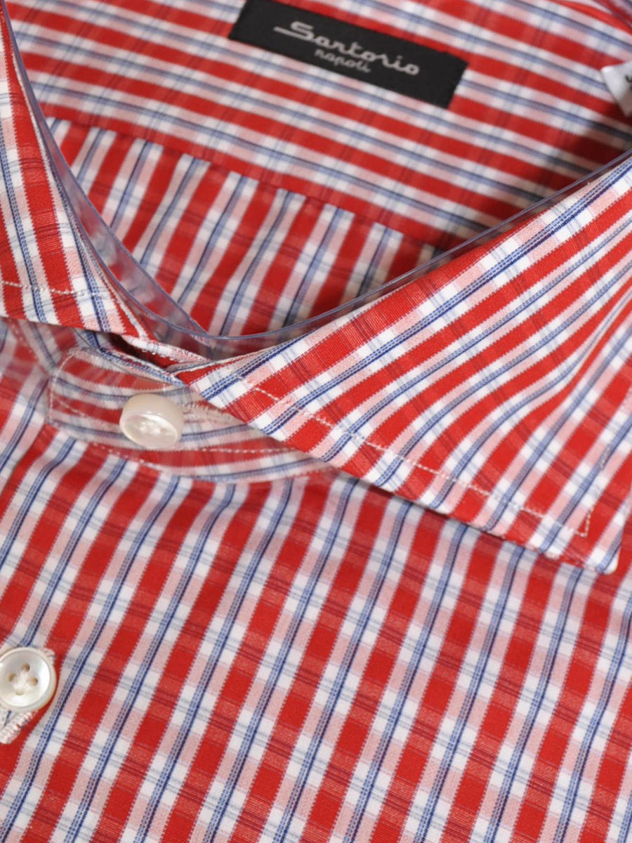 Sartorio Shirt Red White Blue Check New