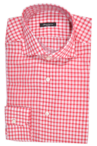 Sartorio Shirt White Pink Check Linen Cotton 38 - 15 SALE