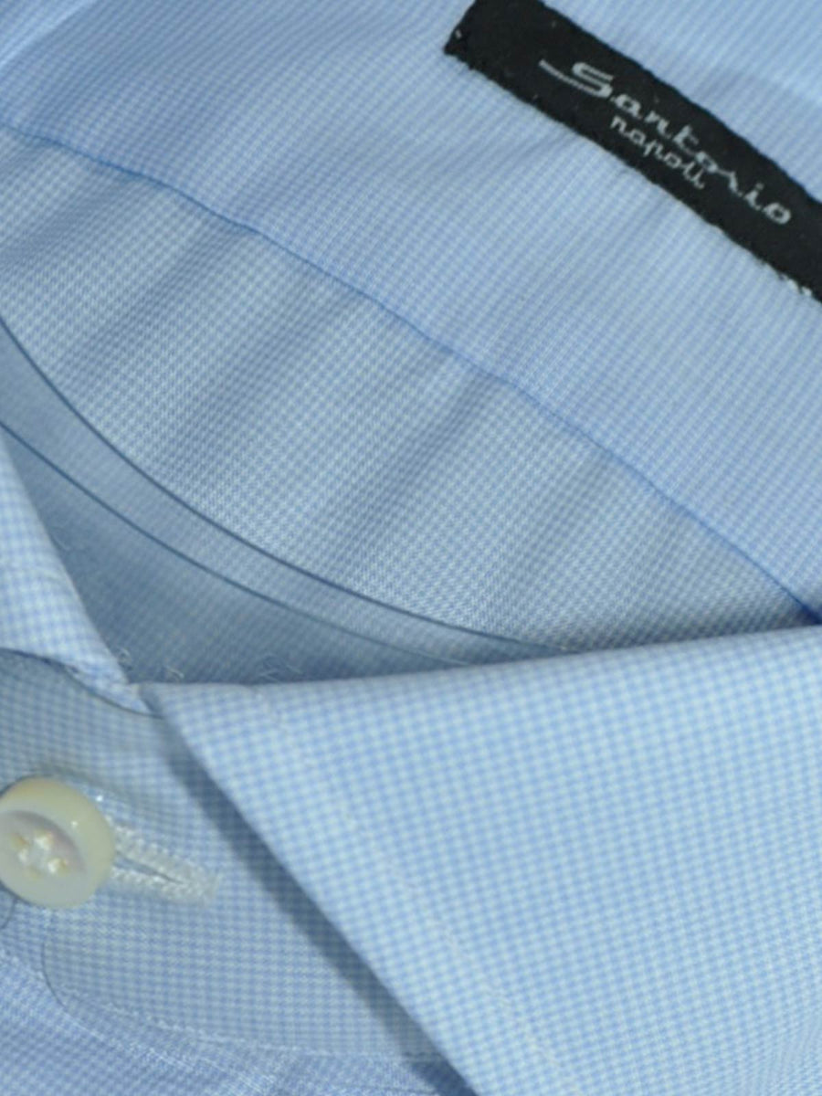 Sartorio Dress Shirt White Blue Mini Houndstooth