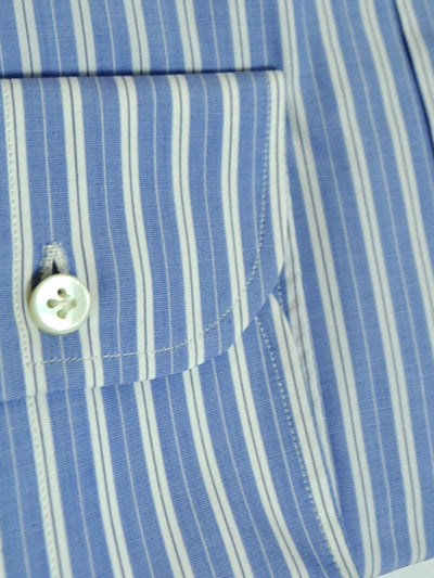 Sartorio Dress Shirt White Blue Navy Stripes 40 - 15 3/4 SALE