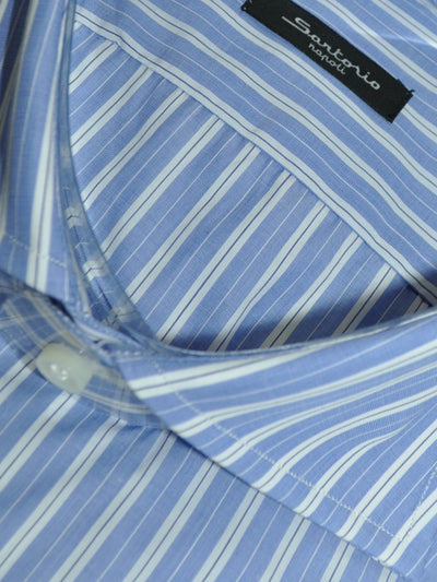 Sartorio Dress Shirt White Blue Navy Stripes
